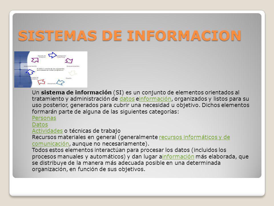 SISTEMAS DE INFORMACION Un sistema de información (SI) es un conjunto de elementos orientados al tratamiento y administración de datos einformación, o