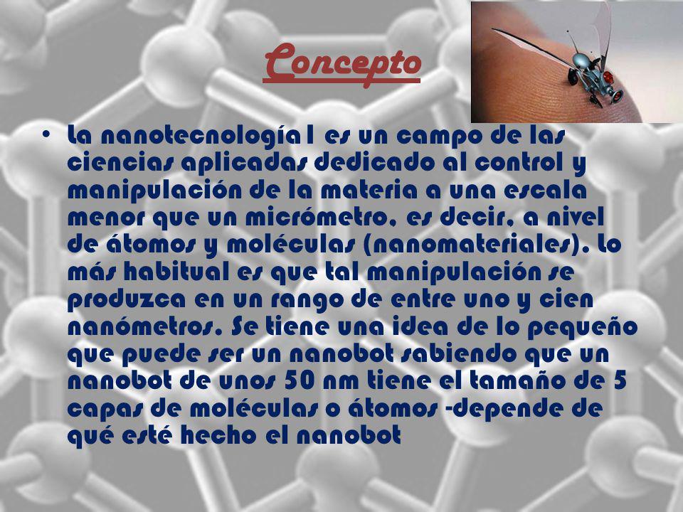 Concepto La nanotecnología1 es un campo de las ciencias aplicadas dedicado al control y manipulación de la materia a una escala menor que un micrómetro, es decir, a nivel de átomos y moléculas (nanomateriales).