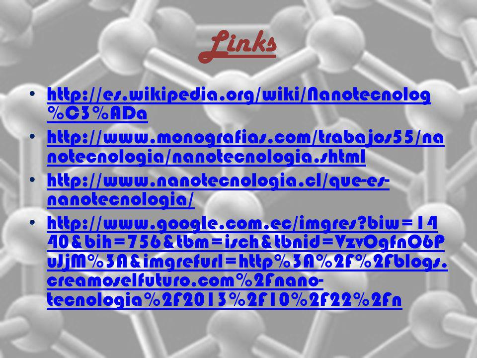 Links http://es.wikipedia.org/wiki/Nanotecnolog %C3%ADa http://es.wikipedia.org/wiki/Nanotecnolog %C3%ADa http://www.monografias.com/trabajos55/na not