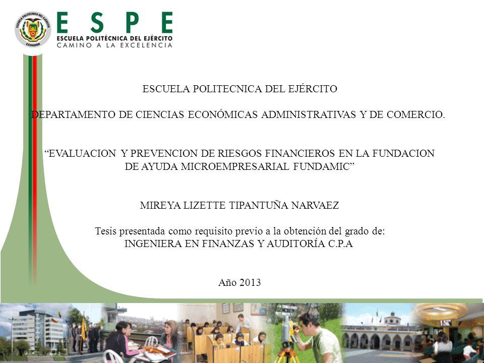ESCUELA POLITECNICA DEL EJÉRCITO DEPARTAMENTO DE CIENCIAS ECONÓMICAS ADMINISTRATIVAS Y DE COMERCIO.