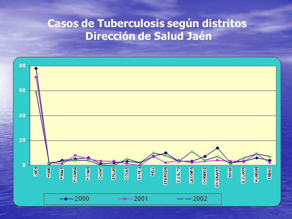 Casos de Tuberculosis según distritos Dirección de Salud Jaén