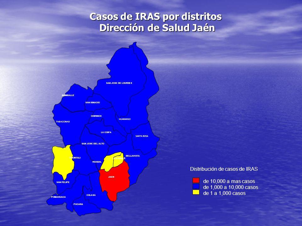 HUARANGO POMAHUACA COLASAY JAEN SAN JOSE DE LOURDES PUCARA NAMBALLE SAN IGNACIO CHIRINOS TABACONAS LA COIPA SAN JOSE DEL ALTO CHONTALI LAS PIRIA S SAN FELIPE BELLAVISTA HUABAL SANTA ROSA Distribución de casos de IRAS de 10,000 a mas casos de 1,000 a 10,000 casos de 1 a 1,000 casos Casos de IRAS por distritos Dirección de Salud Jaén Dirección de Salud Jaén