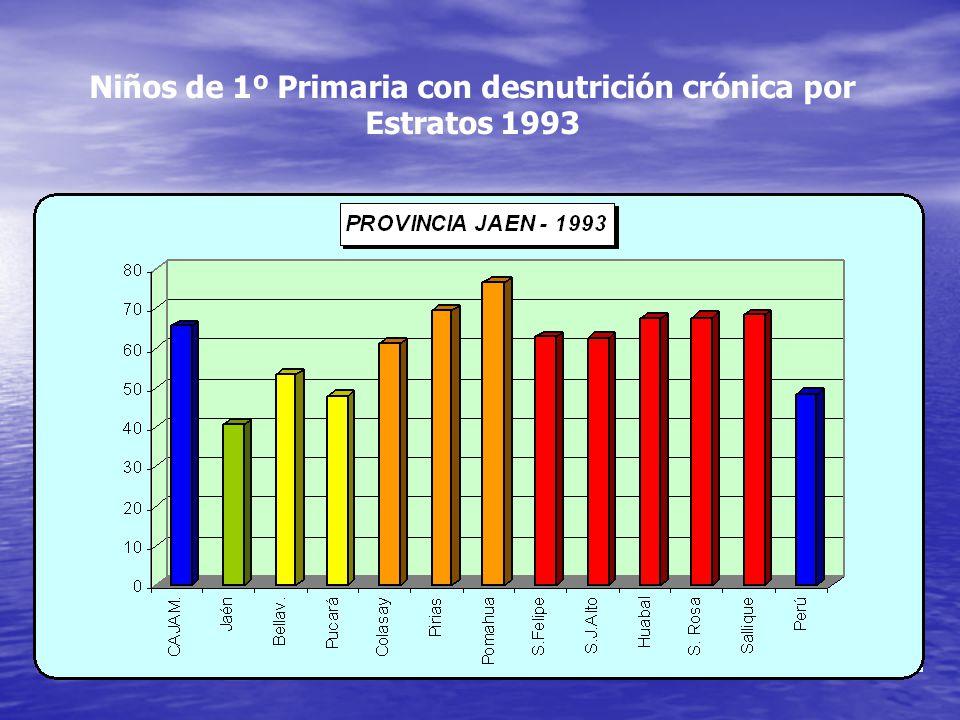 Niños de 1º Primaria con desnutrición crónica por Estratos 1993