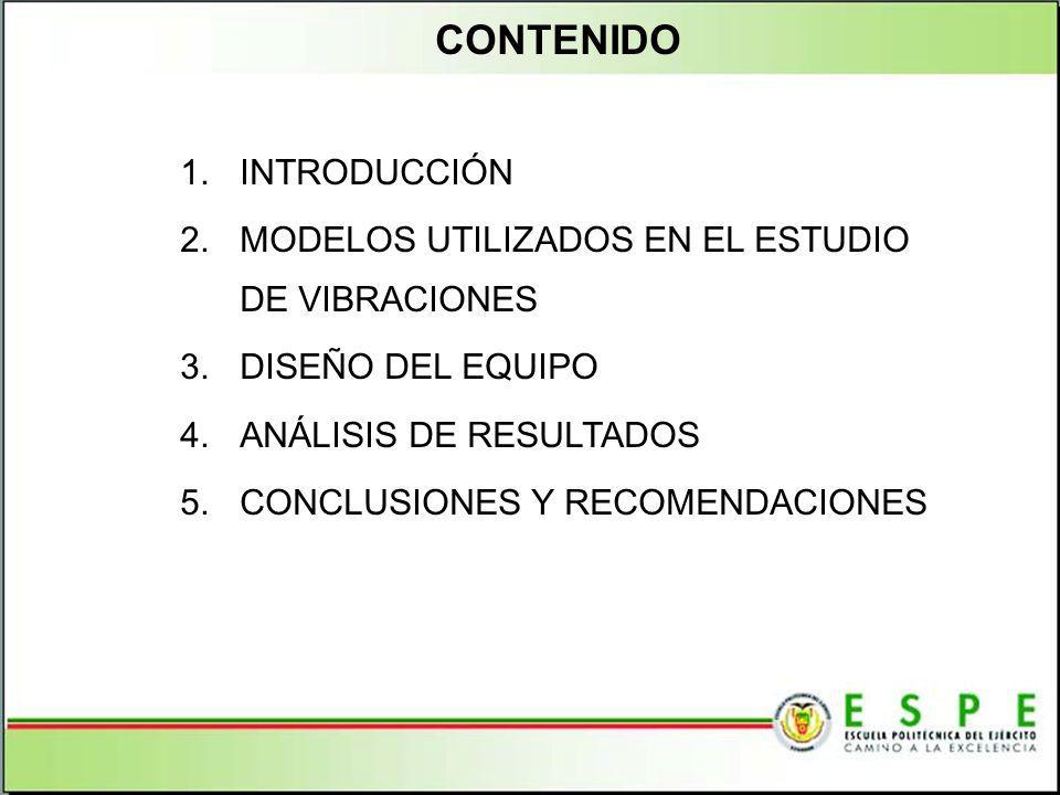 CONTENIDO 1.INTRODUCCIÓN 2.MODELOS UTILIZADOS EN EL ESTUDIO DE VIBRACIONES 3.DISEÑO DEL EQUIPO 4.ANÁLISIS DE RESULTADOS 5.CONCLUSIONES Y RECOMENDACION