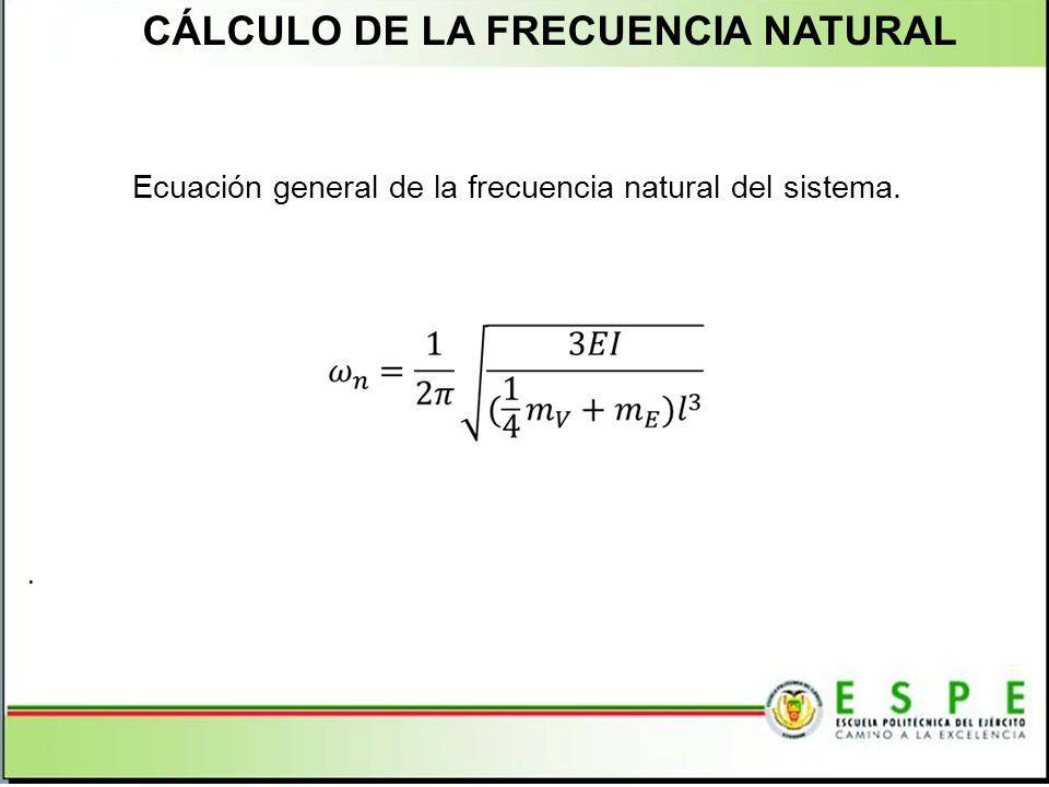 CÁLCULO DE LA FRECUENCIA NATURAL Ecuación general de la frecuencia natural del sistema..