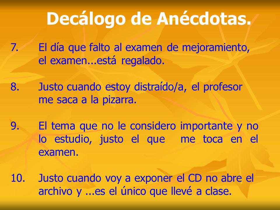 I.Preámbulo. II. Decálogo de Anécdotas. IV. Reglas para Estudiar.
