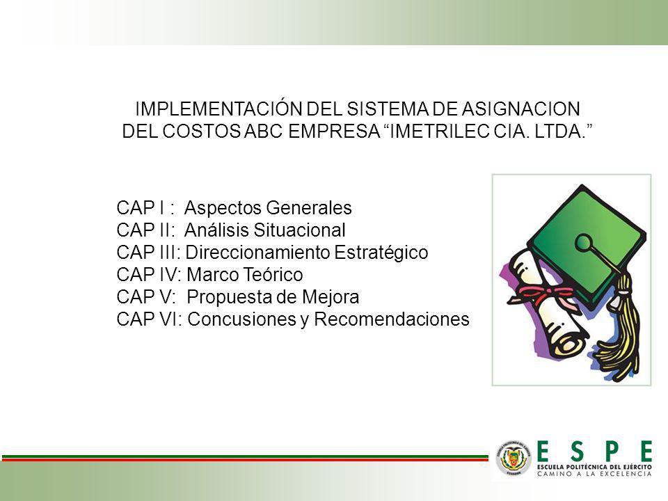 IMPLEMENTACIÓN DEL SISTEMA DE ASIGNACION DEL COSTOS ABC EMPRESA IMETRILEC CIA. LTDA. CAP I : Aspectos Generales CAP II: Análisis Situacional CAP III: