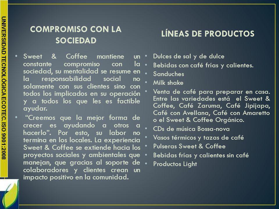 UNIVERSIDAD TECNOLÓGICA ECOTEC. ISO 9001:2008 COMPROMISO CON LA SOCIEDAD Sweet & Coffee mantiene un constante compromiso con la sociedad, su mentalida