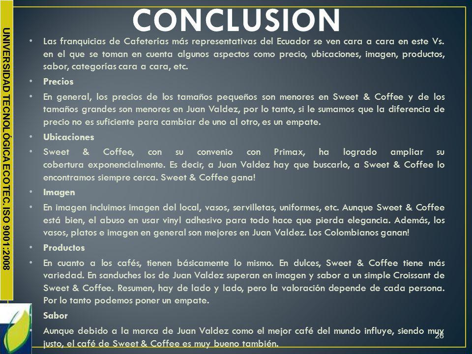 Las franquicias de Cafeterías más representativas del Ecuador se ven cara a cara en este Vs. en el que se toman en cuenta algunos aspectos como precio