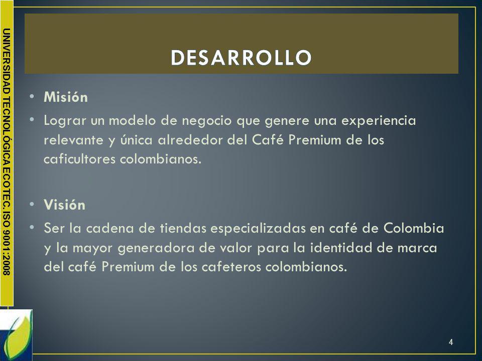 UNIVERSIDAD TECNOLÓGICA ECOTEC. ISO 9001:2008 Misión Lograr un modelo de negocio que genere una experiencia relevante y única alrededor del Café Premi