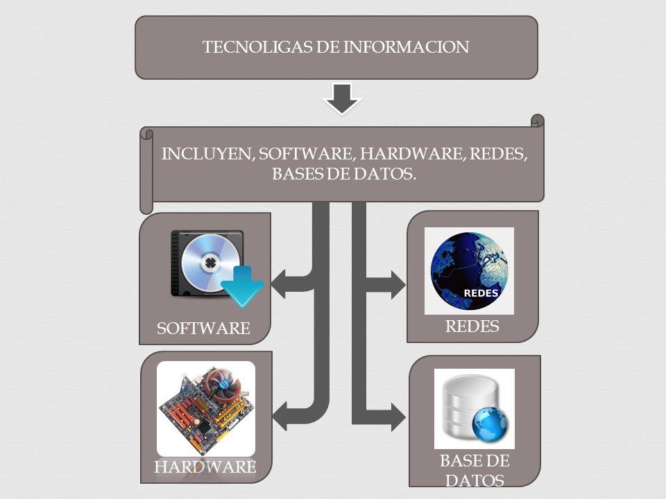 TECNOLIGAS DE INFORMACION INCLUYEN, SOFTWARE, HARDWARE, REDES, BASES DE DATOS.