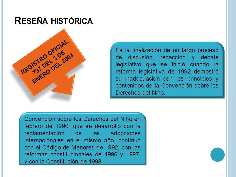 R ESEÑA HISTÓRICA Es la finalización de un largo proceso de discusión, redacción y debate legislativo que se inició cuando la reforma legislativa de 1992 demostró su inadecuación con los principios y contenidos de la Convención sobre los Derechos del Niño.