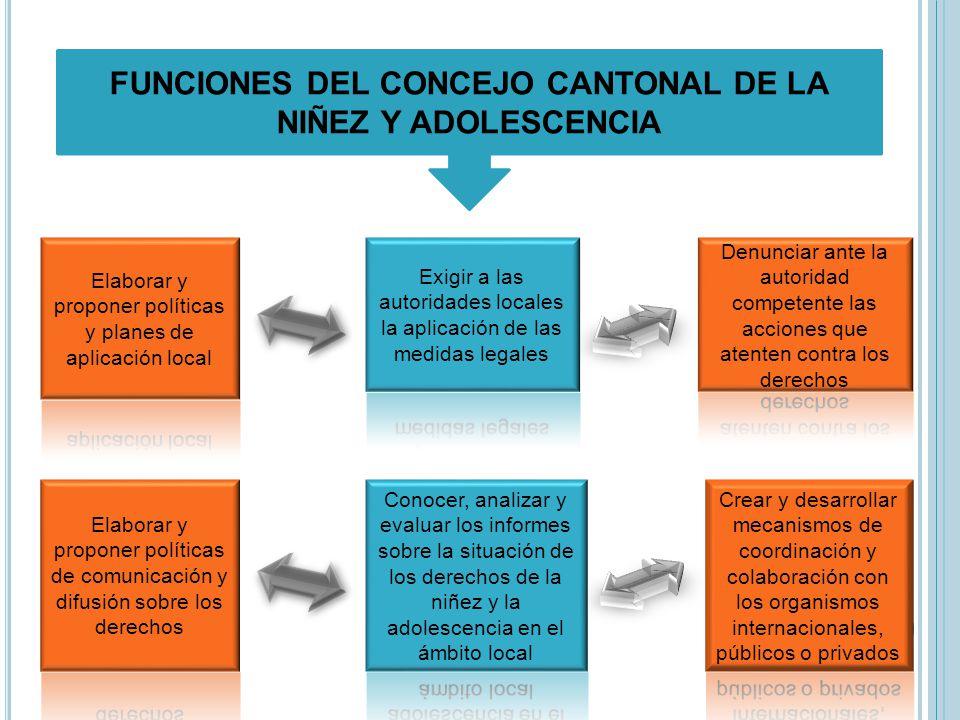 FUNCIONES DEL CONCEJO CANTONAL DE LA NIÑEZ Y ADOLESCENCIA