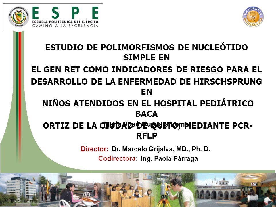 Objetivos Estandarizar la técnica de extracción de ADN Optimizar las condiciones de PCR-RFLP Determinar la frecuencia en afectos y control Analizar los polimorfismos de un solo nucleótido de los exones 2, 7 y 15; y la región IVS1+1813 del gen RET, mediante PCR-RFLP, de un grupo de niños con Hirschsprung atendidos en el Hospital Pediátrico Baca Ortiz de la ciudad de Quito.