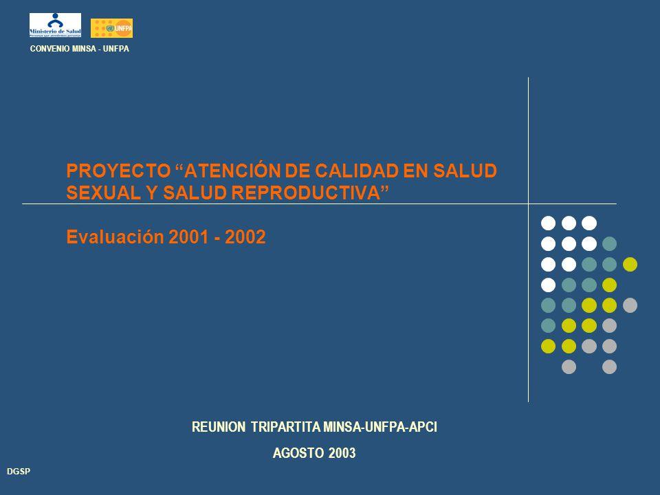 PROYECTO ATENCIÓN DE CALIDAD EN SALUD SEXUAL Y SALUD REPRODUCTIVA Evaluación 2001 - 2002 DGSP CONVENIO MINSA - UNFPA REUNION TRIPARTITA MINSA-UNFPA-APCI AGOSTO 2003