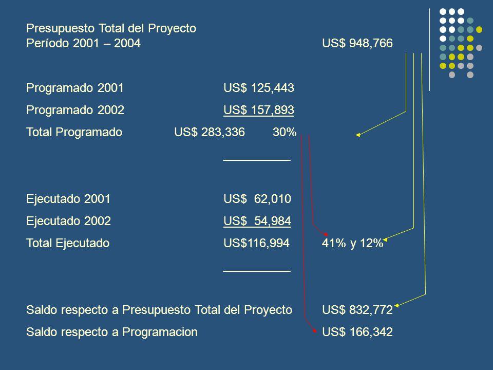 Presupuesto Total del Proyecto Período 2001 – 2004US$ 948,766 Programado 2001 US$ 125,443 Programado 2002US$ 157,893 Total ProgramadoUS$ 283,33630% __________ Ejecutado 2001US$ 62,010 Ejecutado 2002US$ 54,984 Total EjecutadoUS$116,99441% y 12% __________ Saldo respecto a Presupuesto Total del ProyectoUS$ 832,772 Saldo respecto a ProgramacionUS$ 166,342
