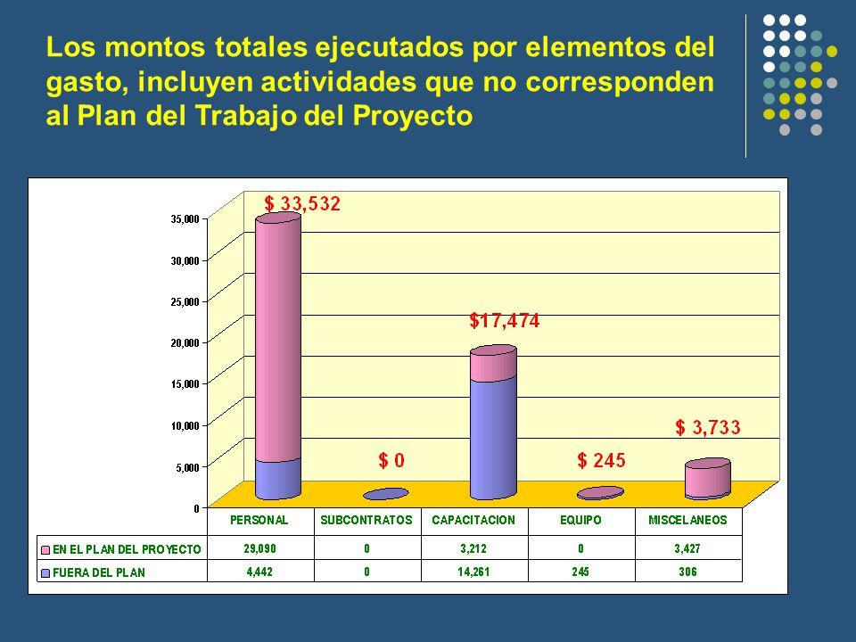 Los montos totales ejecutados por elementos del gasto, incluyen actividades que no corresponden al Plan del Trabajo del Proyecto