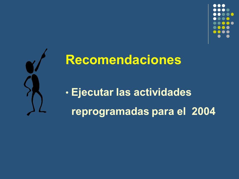 Recomendaciones Ejecutar las actividades reprogramadas para el 2004