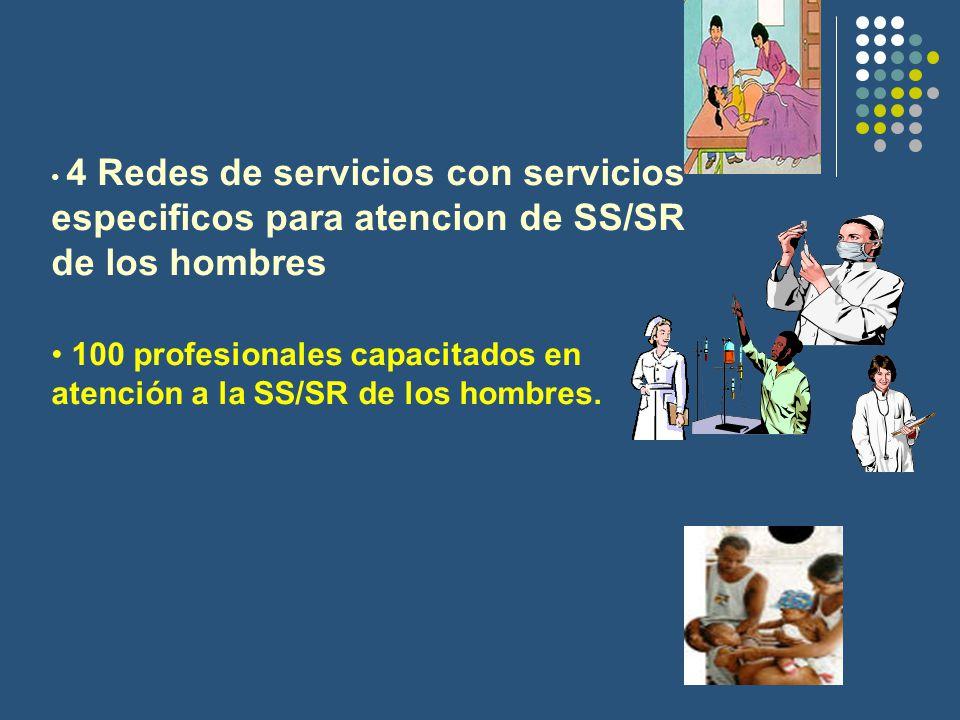4 Redes de servicios con servicios especificos para atencion de SS/SR de los hombres 100 profesionales capacitados en atención a la SS/SR de los hombres.