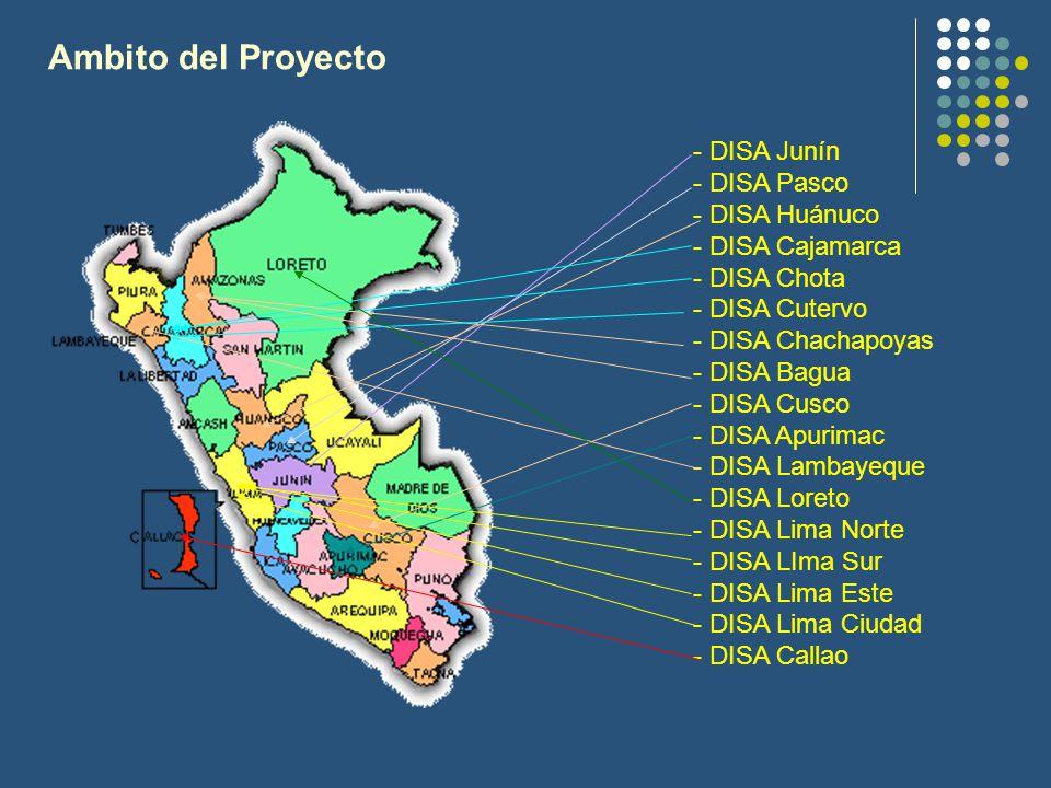 Ambito del Proyecto - DISA Junín - DISA Pasco - DISA Huánuco - DISA Cajamarca - DISA Chota - DISA Cutervo - DISA Chachapoyas - DISA Bagua - DISA Cusco - DISA Apurimac - DISA Lambayeque - DISA Loreto - DISA Lima Norte - DISA LIma Sur - DISA Lima Este - DISA Lima Ciudad - DISA Callao