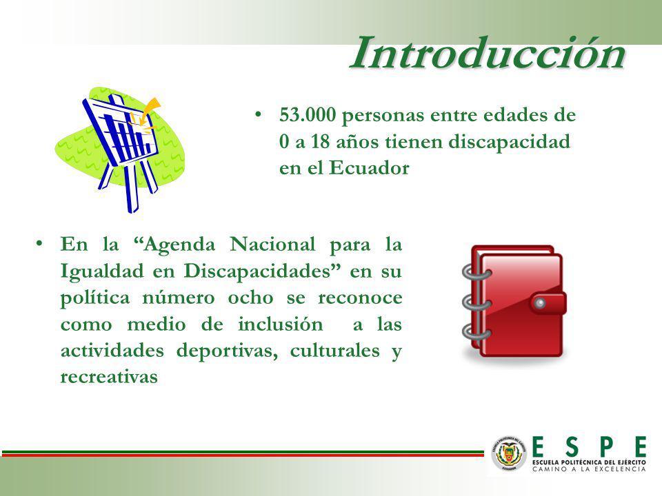 Introducción 53.000 personas entre edades de 0 a 18 años tienen discapacidad en el Ecuador En la Agenda Nacional para la Igualdad en Discapacidades en su política número ocho se reconoce como medio de inclusión a las actividades deportivas, culturales y recreativas