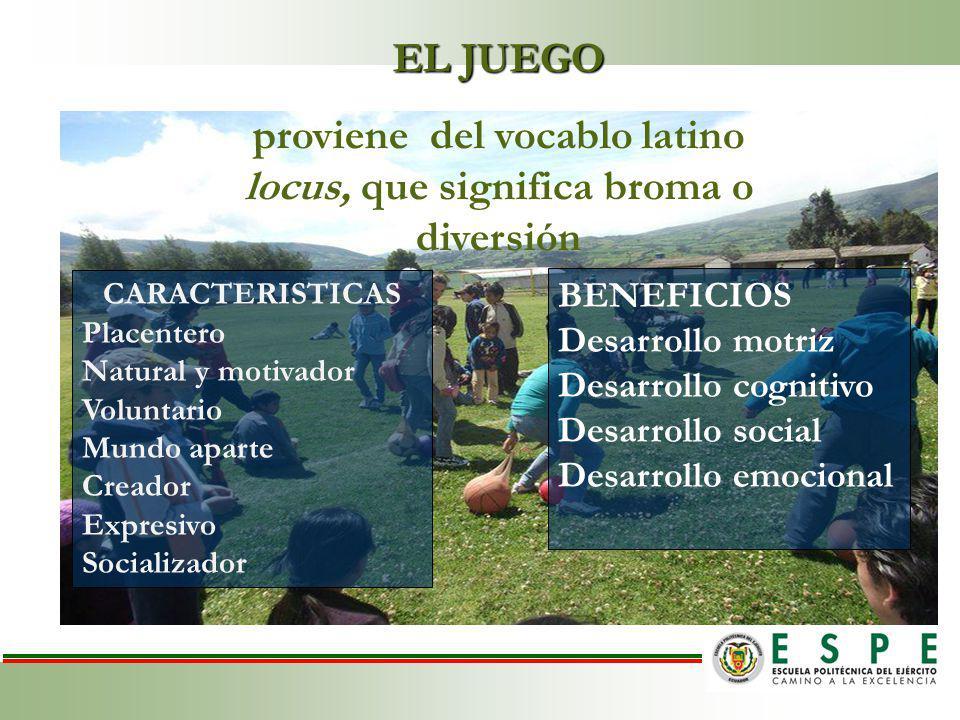 EL JUEGO proviene del vocablo latino locus, que significa broma o diversión CARACTERISTICAS Placentero Natural y motivador Voluntario Mundo aparte Creador Expresivo Socializador BENEFICIOS Desarrollo motriz Desarrollo cognitivo Desarrollo social Desarrollo emocional