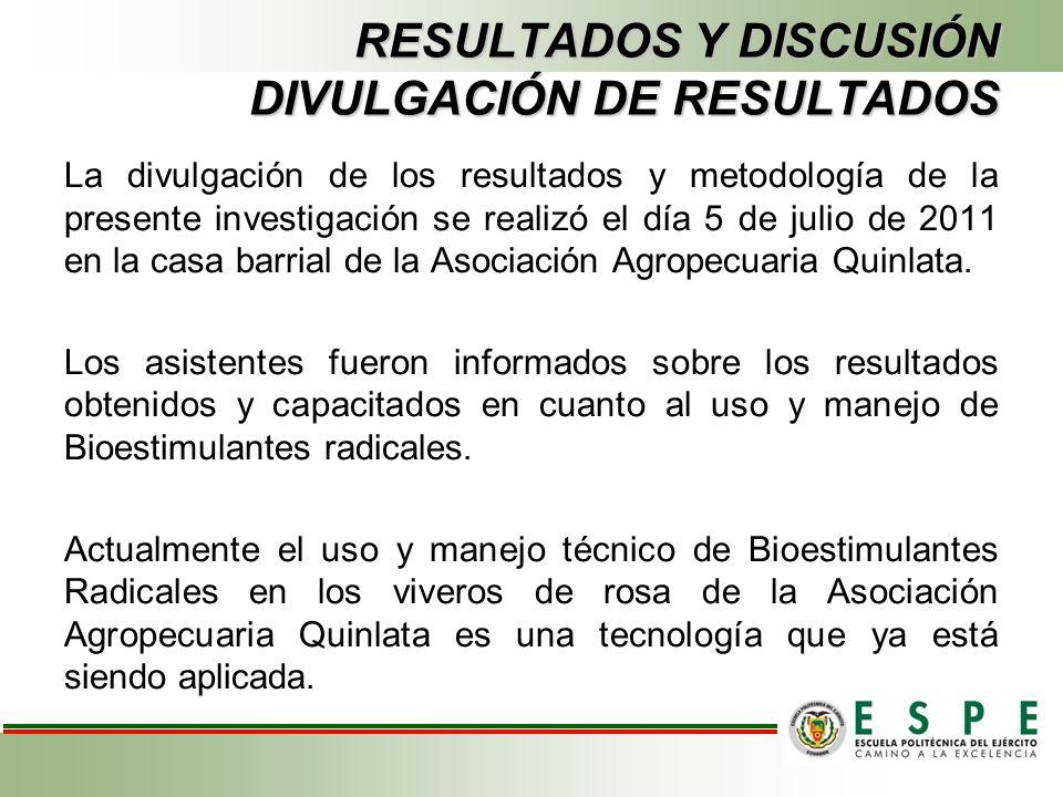 La divulgación de los resultados y metodología de la presente investigación se realizó el día 5 de julio de 2011 en la casa barrial de la Asociación A
