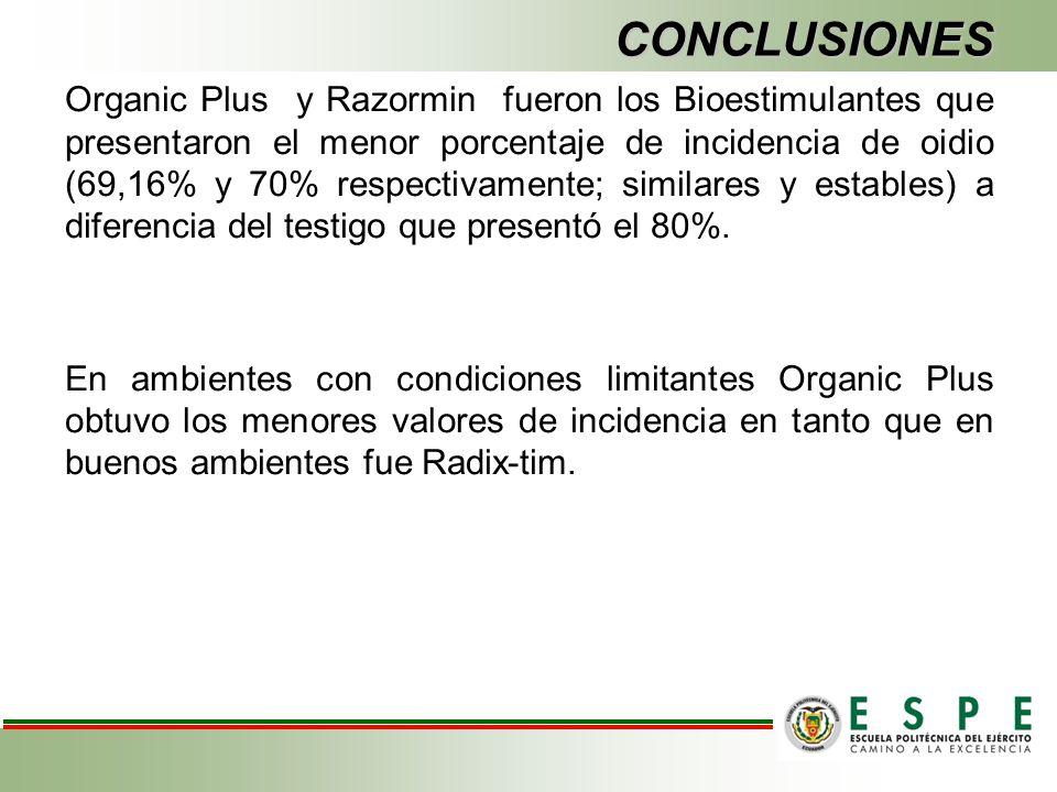 CONCLUSIONES Organic Plus y Razormin fueron los Bioestimulantes que presentaron el menor porcentaje de incidencia de oidio (69,16% y 70% respectivamen