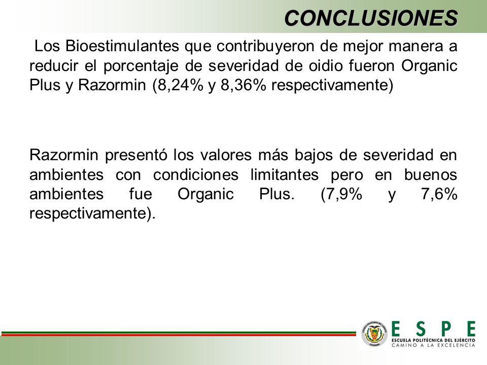 CONCLUSIONES Los Bioestimulantes que contribuyeron de mejor manera a reducir el porcentaje de severidad de oidio fueron Organic Plus y Razormin (8,24%