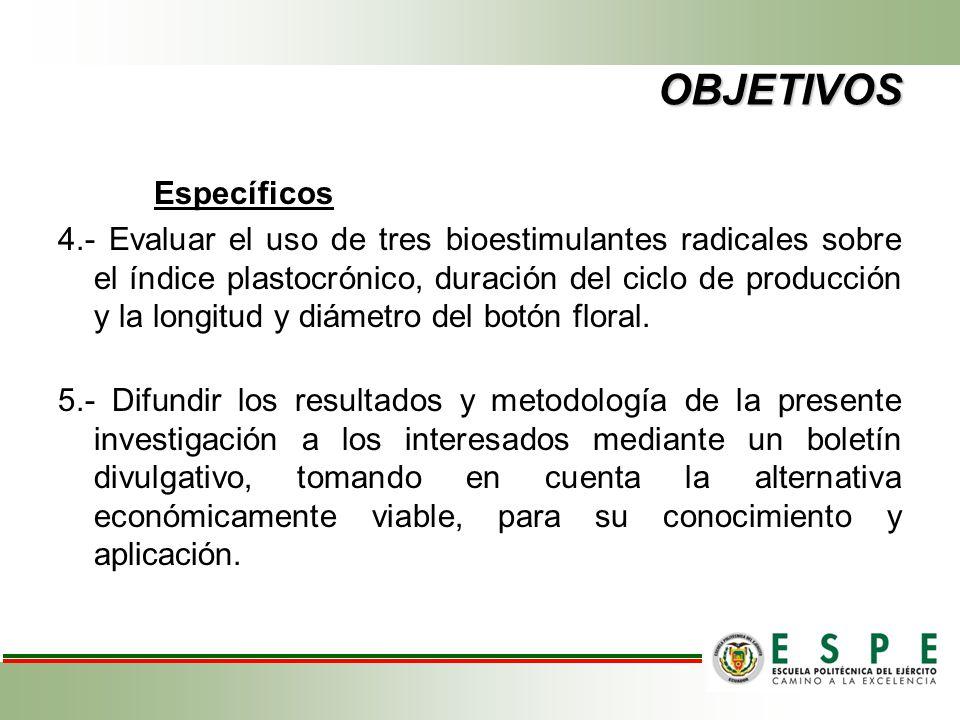 OBJETIVOS Específicos 4.- Evaluar el uso de tres bioestimulantes radicales sobre el índice plastocrónico, duración del ciclo de producción y la longit