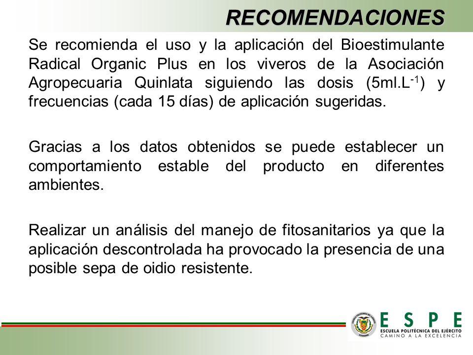 RECOMENDACIONES Se recomienda el uso y la aplicación del Bioestimulante Radical Organic Plus en los viveros de la Asociación Agropecuaria Quinlata sig