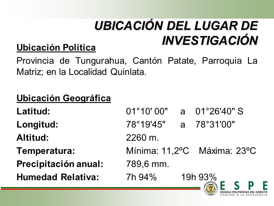 UBICACIÓN DEL LUGAR DE INVESTIGACIÓN Ubicación Política Provincia de Tungurahua, Cantón Patate, Parroquia La Matriz; en la Localidad Quinlata. Ubicaci