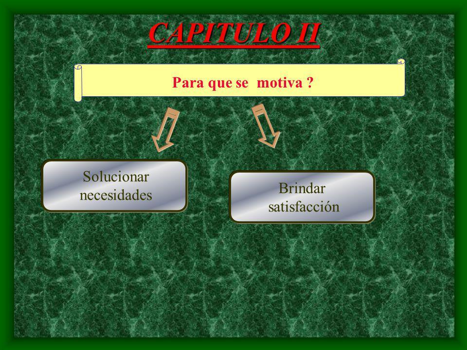 CAPITULO II Como se motiva ? Participación del Trabajador Análisis de necesidades
