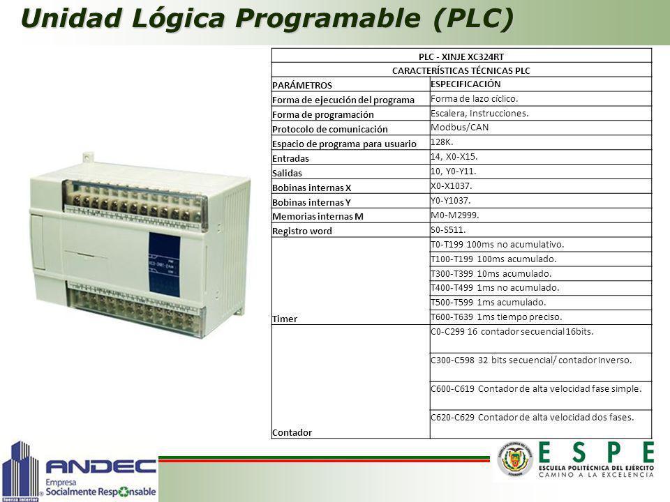 Unidad Lógica Programable (PLC) PLC - XINJE XC324RT CARACTERÍSTICAS TÉCNICAS PLC PARÁMETROS ESPECIFICACIÓN Forma de ejecución del programa Forma de la