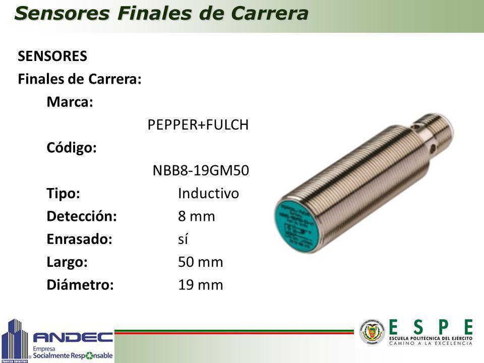 Sensores Finales de Carrera SENSORES Finales de Carrera: Marca: PEPPER+FULCH Código: NBB8-19GM50 Tipo:Inductivo Detección:8 mm Enrasado:sí Largo:50 mm