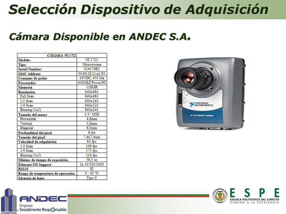 Cámara Disponible en ANDEC S.A.