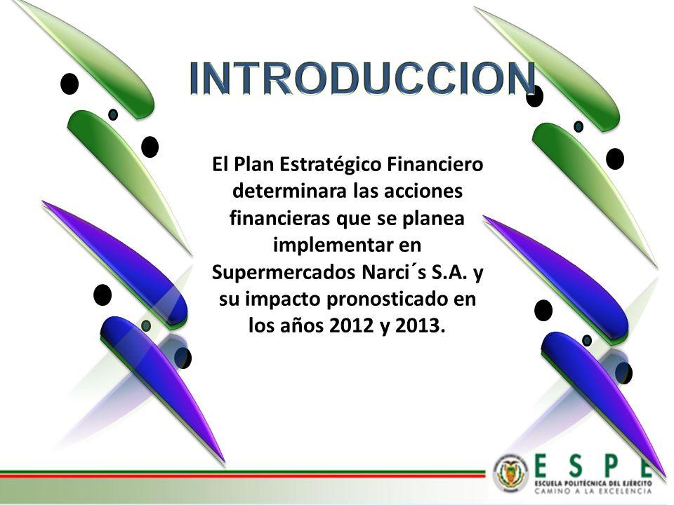 El Plan Estratégico Financiero determinara las acciones financieras que se planea implementar en Supermercados Narci´s S.A. y su impacto pronosticado