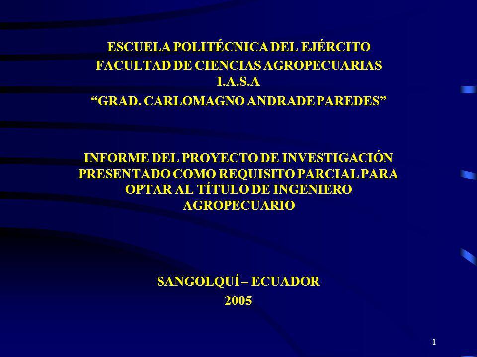 1 ESCUELA POLITÉCNICA DEL EJÉRCITO FACULTAD DE CIENCIAS AGROPECUARIAS I.A.S.A GRAD. CARLOMAGNO ANDRADE PAREDES INFORME DEL PROYECTO DE INVESTIGACIÓN P
