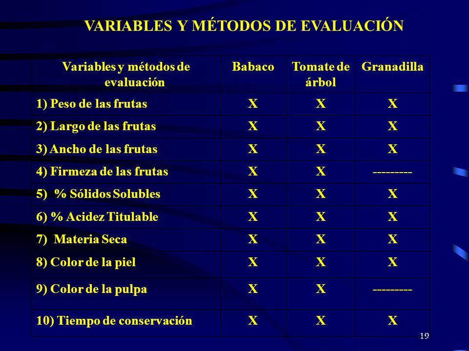 19 VARIABLES Y MÉTODOS DE EVALUACIÓN Variables y métodos de evaluación BabacoTomate de árbol Granadilla 1) Peso de las frutasXXX 2) Largo de las fruta