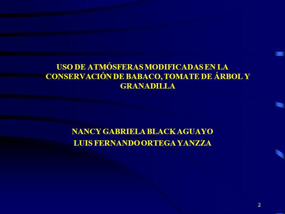 2 USO DE ATMÓSFERAS MODIFICADAS EN LA CONSERVACIÓN DE BABACO, TOMATE DE ÁRBOL Y GRANADILLA NANCY GABRIELA BLACK AGUAYO LUIS FERNANDO ORTEGA YANZZA