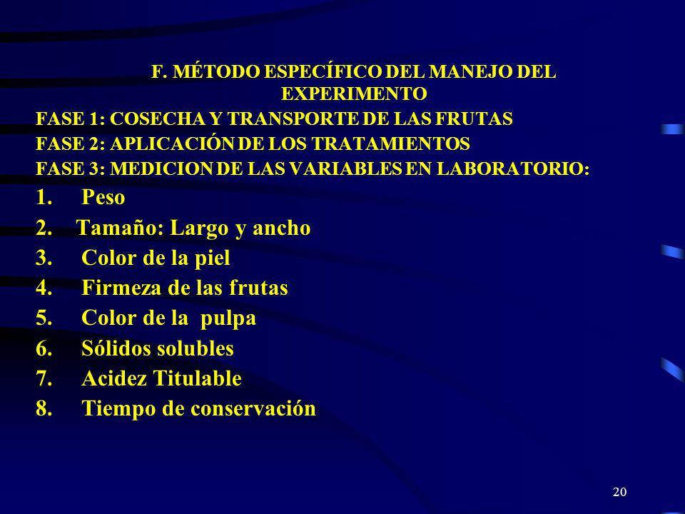 20 F. MÉTODO ESPECÍFICO DEL MANEJO DEL EXPERIMENTO FASE 1: COSECHA Y TRANSPORTE DE LAS FRUTAS FASE 2: APLICACIÓN DE LOS TRATAMIENTOS FASE 3: MEDICION