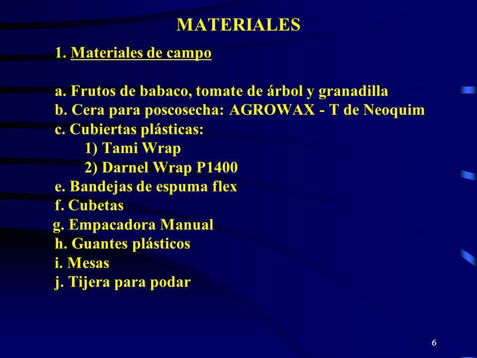 6 MATERIALES 1. Materiales de campo a. Frutos de babaco, tomate de árbol y granadilla b. Cera para poscosecha: AGROWAX - T de Neoquim c. Cubiertas plá