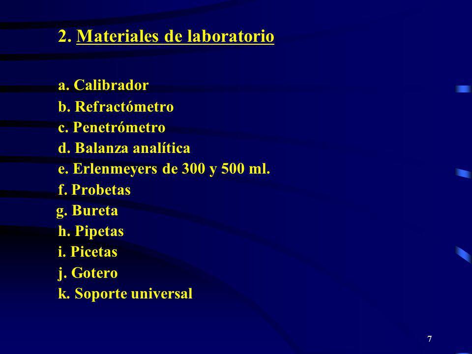 7 2. Materiales de laboratorio a. Calibrador b. Refractómetro c. Penetrómetro d. Balanza analítica e. Erlenmeyers de 300 y 500 ml. f. Probetas g. Bure