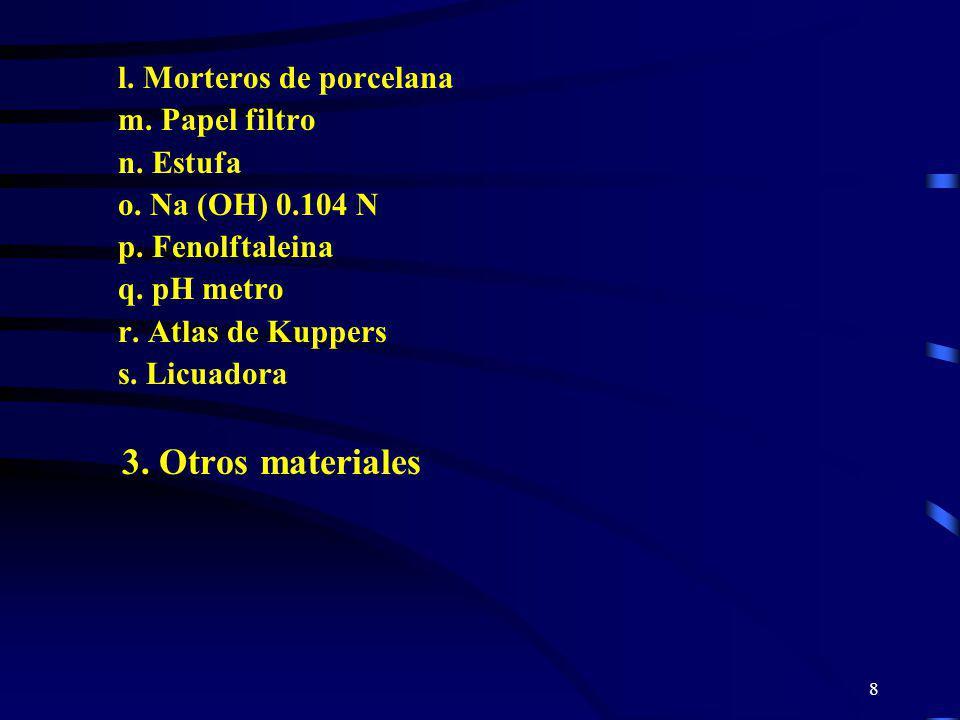8 l. Morteros de porcelana m. Papel filtro n. Estufa o. Na (OH) 0.104 N p. Fenolftaleina q. pH metro r. Atlas de Kuppers s. Licuadora 3. Otros materia