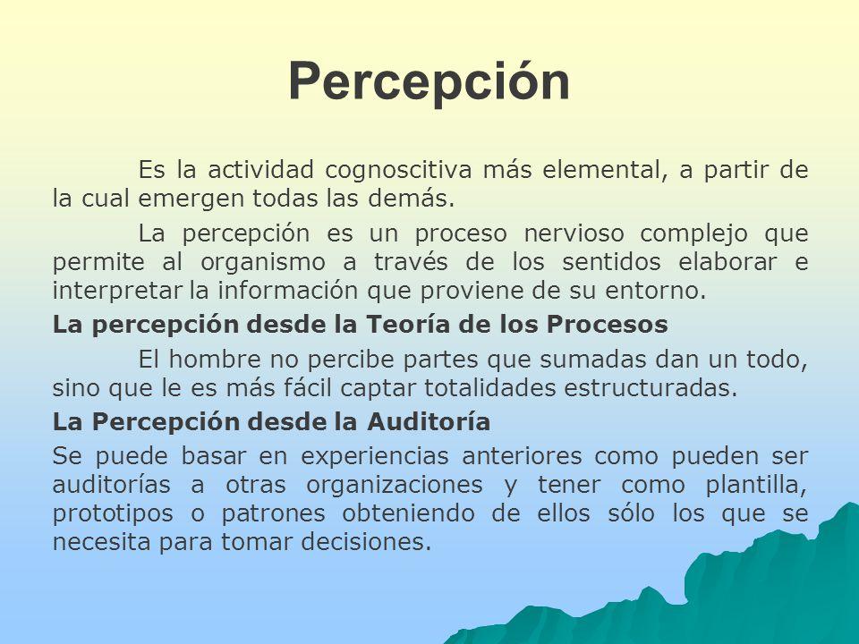 Percepción Es la actividad cognoscitiva más elemental, a partir de la cual emergen todas las demás.