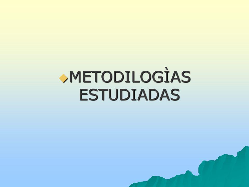 METODILOGÌAS ESTUDIADAS METODILOGÌAS ESTUDIADAS