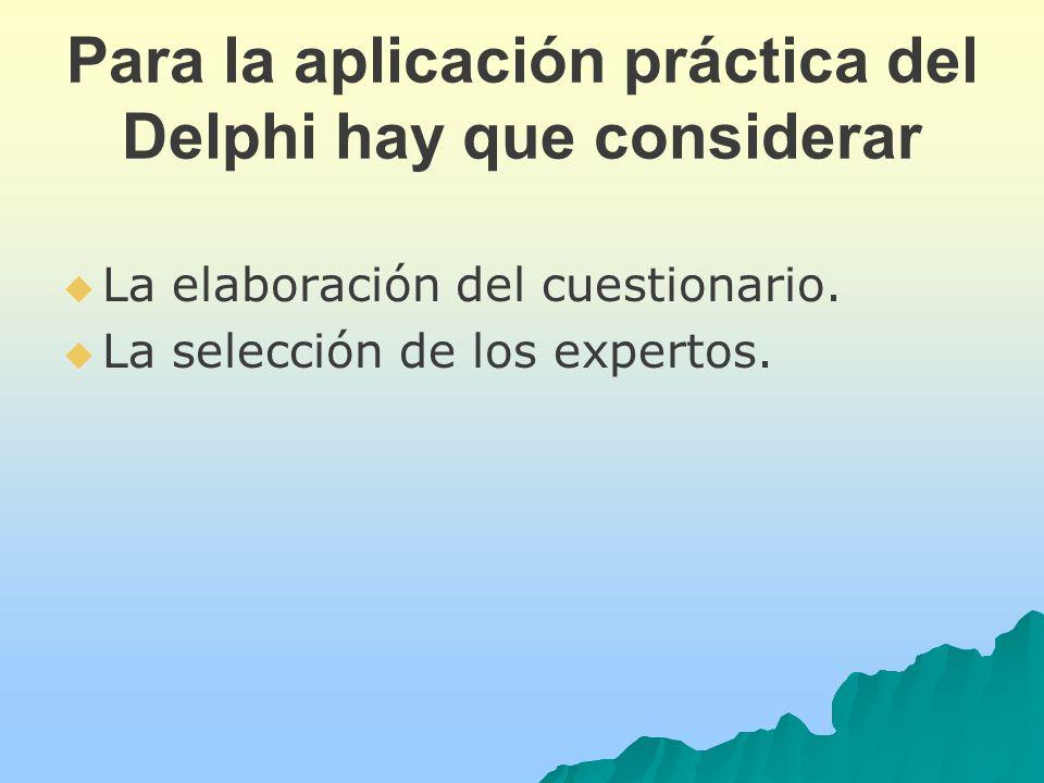 Para la aplicación práctica del Delphi hay que considerar La elaboración del cuestionario.