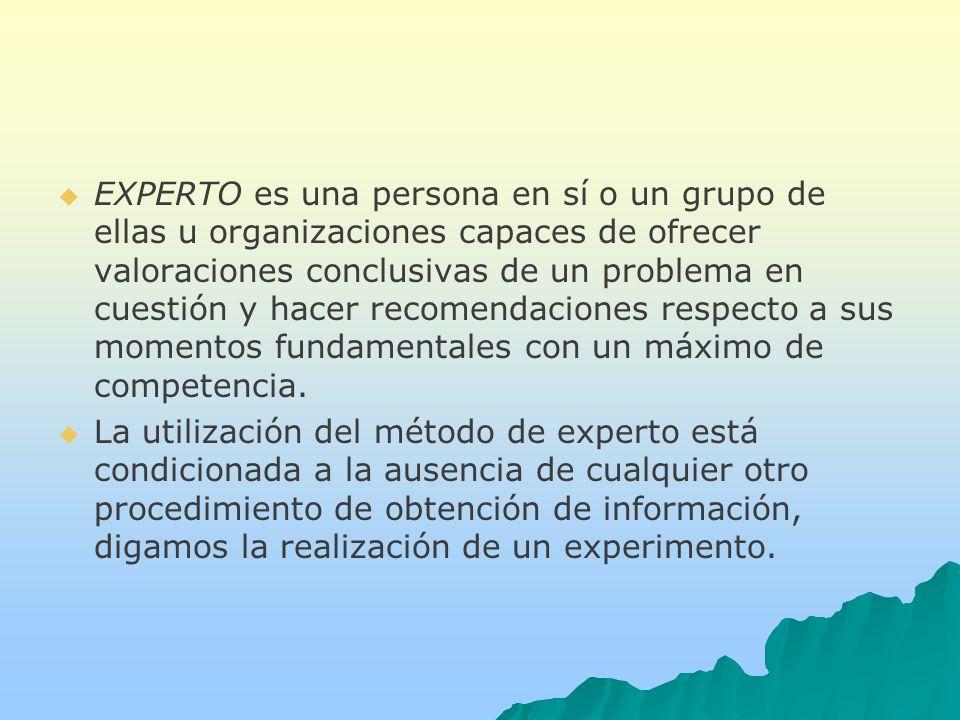 EXPERTO es una persona en sí o un grupo de ellas u organizaciones capaces de ofrecer valoraciones conclusivas de un problema en cuestión y hacer recomendaciones respecto a sus momentos fundamentales con un máximo de competencia.