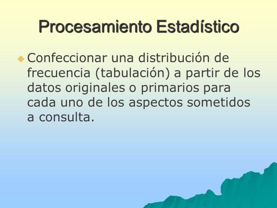 Procesamiento Estadístico Confeccionar una distribución de frecuencia (tabulación) a partir de los datos originales o primarios para cada uno de los aspectos sometidos a consulta.