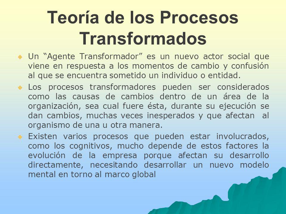 Teoría de los Procesos Transformados Un Agente Transformador es un nuevo actor social que viene en respuesta a los momentos de cambio y confusión al que se encuentra sometido un individuo o entidad.